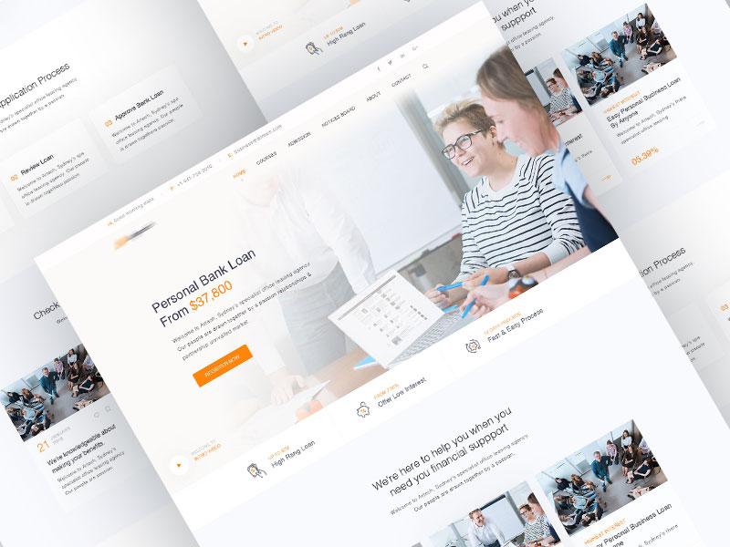 Loan landing Page loan business insurance financial finance consulting broker bank website website design finance home landing page