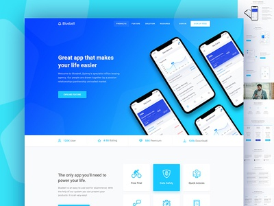 Bluebell- App Showcase app landing landing page software startup software landing page web design website interface illustration application product showcase app landing page