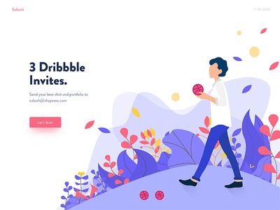 3 Dribbble invites subas welcome illustration first shot bangladesh invite invitation craft giveaway invites gift subash
