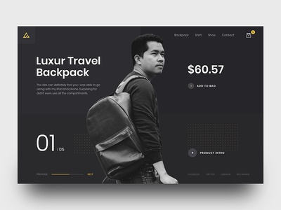 Backpack Product For Exploration photography ecommerce design fashion subash landing product ui ux web exploration ecommerce home page