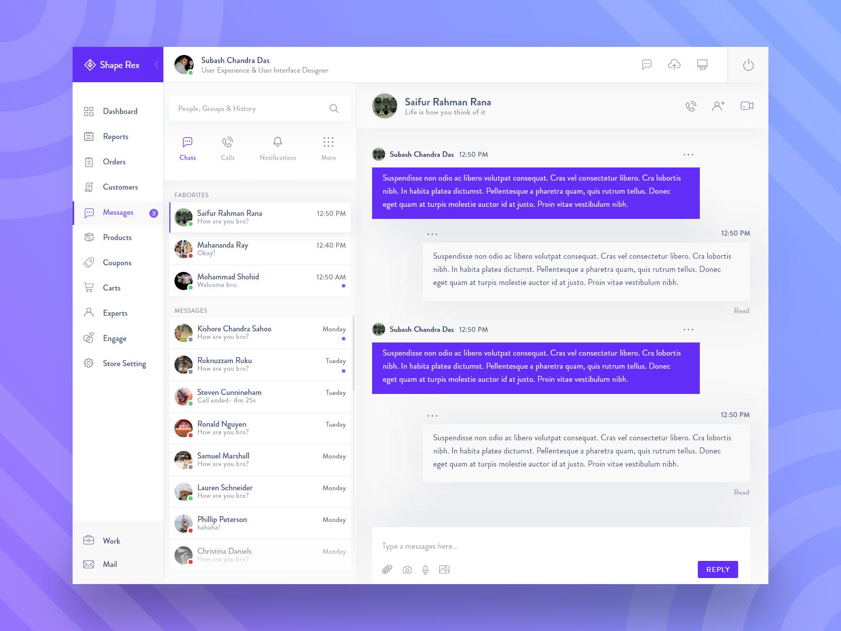 Chat messenger web app