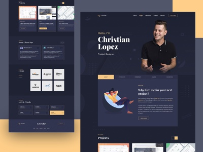 Growth – Personal Portfolio Theme product design theme design portfolio website portfolio design portfolio resume template interface web design landing landing page website