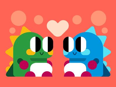 Bubble Bobble cute character vector game bobble bubble