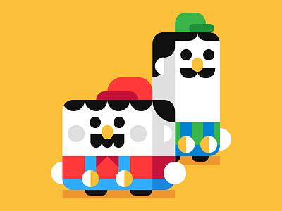 Bros cute vector game luigi mario