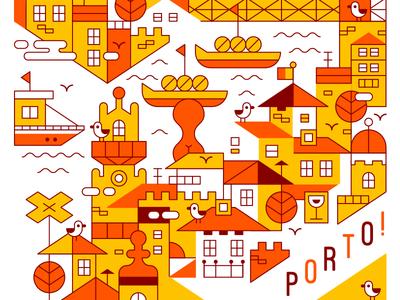 Porto! seagulls cute illustration city porto