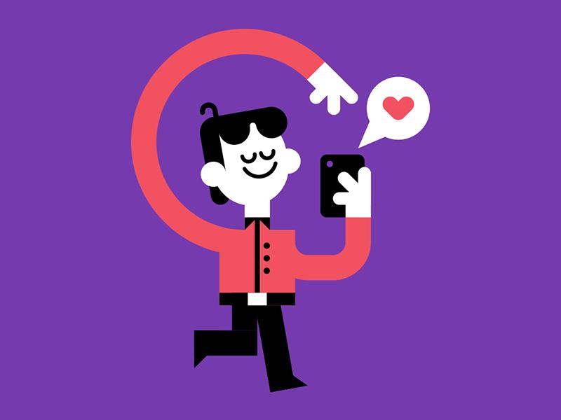Textin' vector cute texting editorial character
