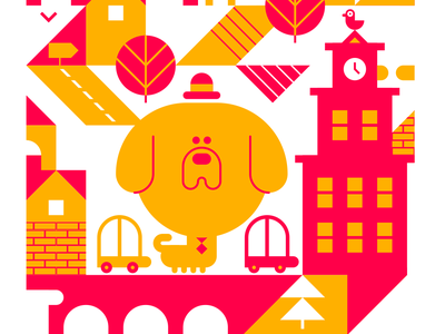 Business boy goes to town vector minimal cute dog print graphicdesgin illustration