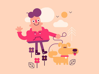 First doodle of 2019! cute dog character vector art vector doodle