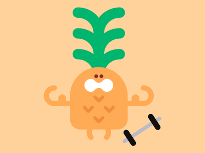 Very strong pineapple vector character cute