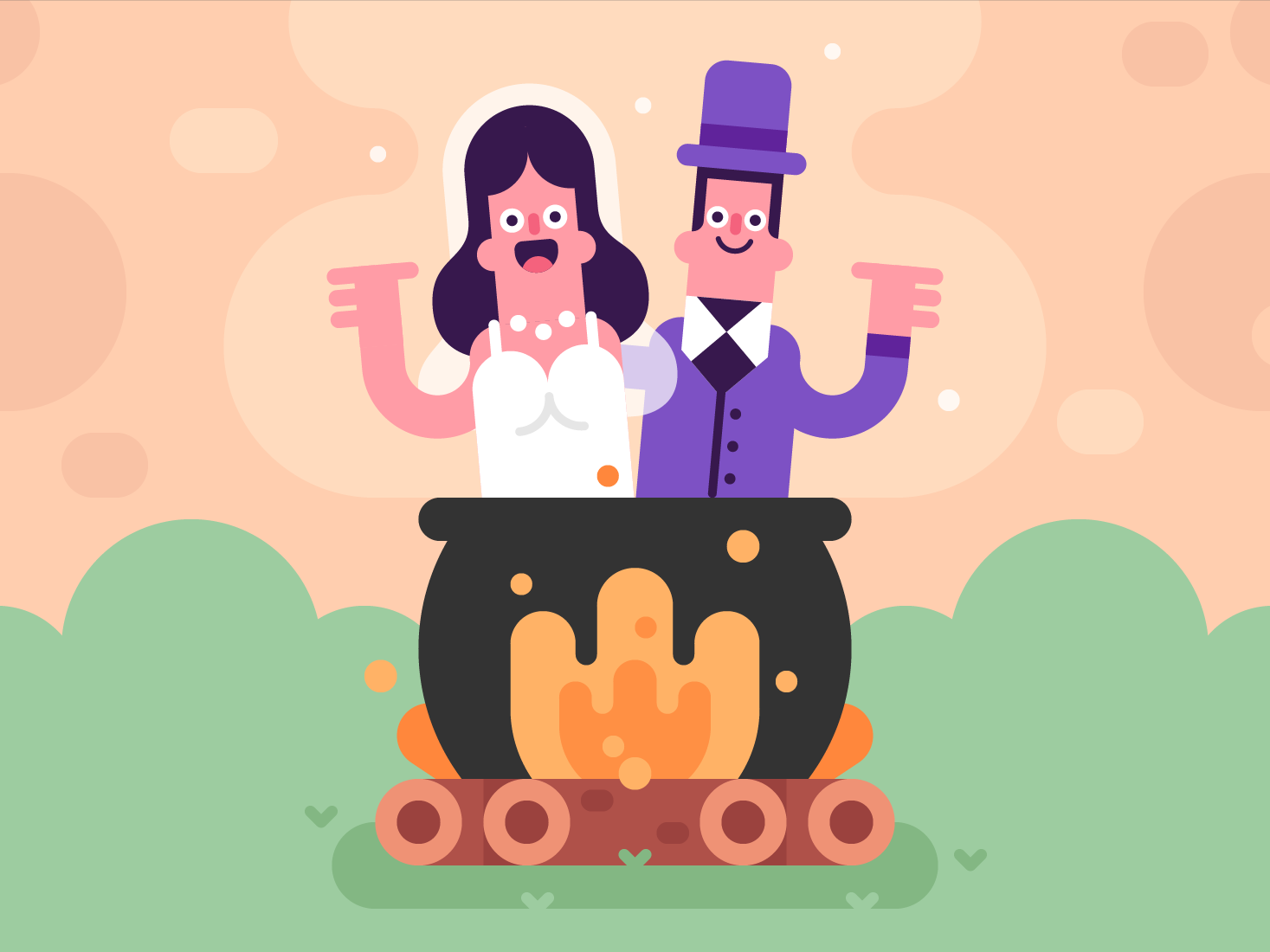 Cauldron Couple illustration cute character vector