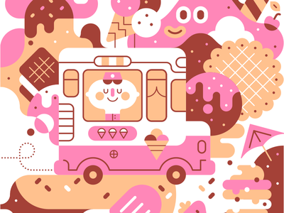 Ice-cream van illustration cute vector