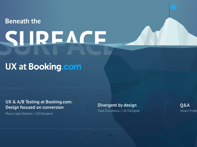 Beneath the Surface: UX at Booking.com booking poster low poly iceberg