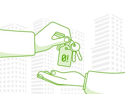 Promo illustration for Nichegosebe.ru illustration logo nichegosebe brand buiding realtor gift key flat