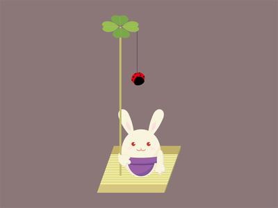 Rabbit with one ladybug