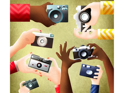 Photo lovers vintage camera hands graphic digital colors design adobe illustrator illustration drawing flat