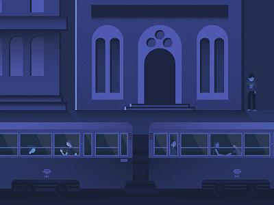 Szczecin Poster 01 dark purple blue shadow flat tram night poster szczecin