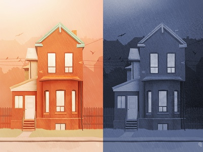 Day N Night drawing house illustration night day houses house building