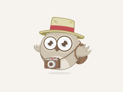 Sebastien logo design character illustration travel owl