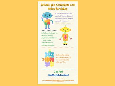 Diana Terrazas Luna/Moongraph infomation cute robots diseñosocial cartel graphic design autismo colors children drawing autism logo ux ui illustration design