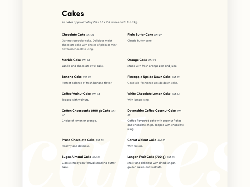 Menu restaurant branding ux ui design website cakes bakery restaurant menu