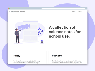 Studyguides.science Home Page ux ui homepage website