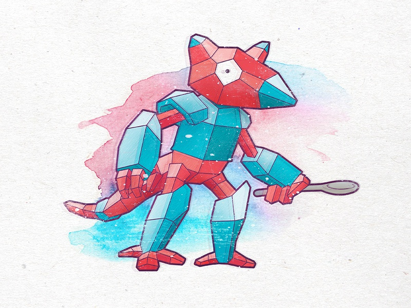 Poryra (Porygon + Abra) watercolor abra porygon polygon illustration pokemon