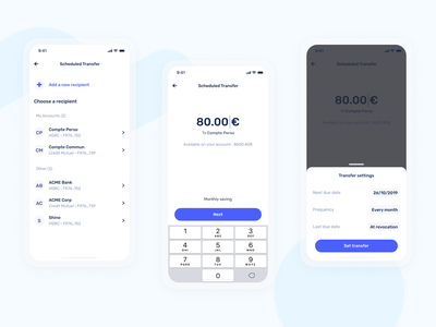 Schedule a transfer on mobile - Shine money transfer neobank mobile fintech bank app