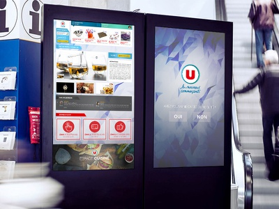 In store touch screen (retail) touch supermarket super u borne tactile touch screen retail