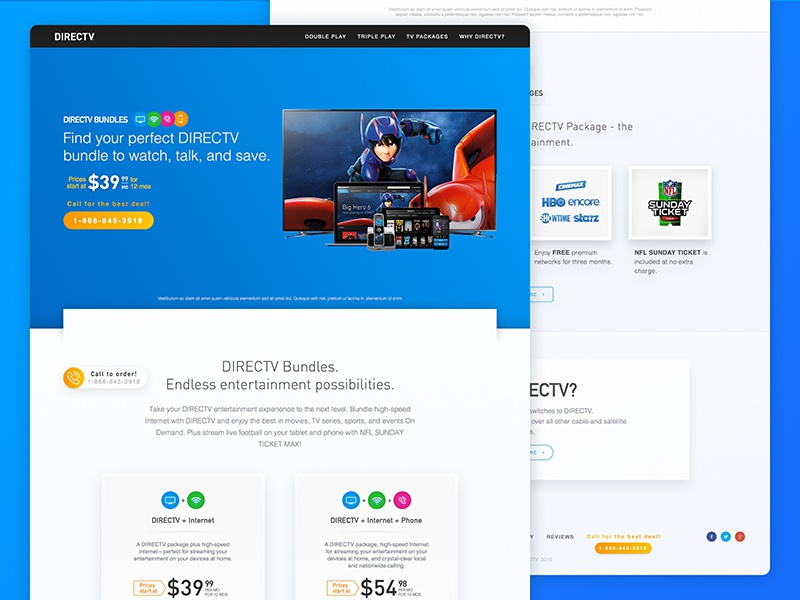 DirecTV Bundles presentation - landing page entertainment tv directv telecom landing page redesign