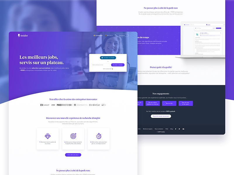Insidor.fr - Landing page user purple web hr platform work job user landing page insidor