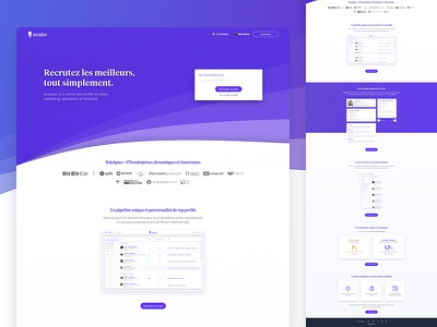 Insidor.fr - Landing page recruiter purple web hr platform work job recruiter landing page insidor