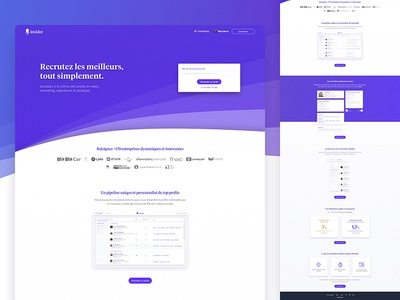 Insidor.fr - Landing page recruiter purple web hr platform work job recruiter landing page insidor