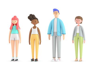 3D Characters Tijiko person c4d illustration character 3d