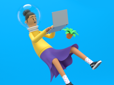 Space girl design character c4d space girl 3d