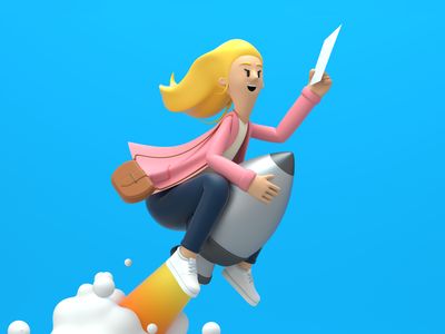 Launch launch rocket girl design render c4d illustration character 3d
