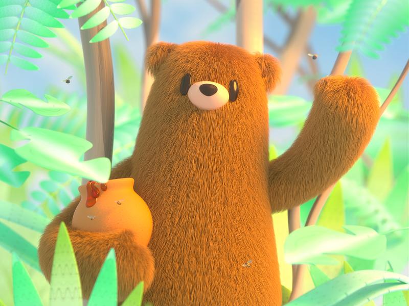 Bear natural bear design render c4d illustration character 3d