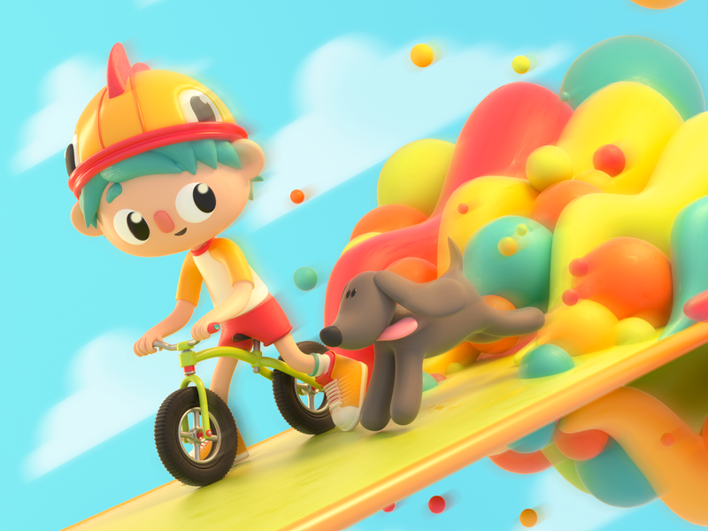 Boy & puppy child pet bike dog design render c4d illustration character 3d