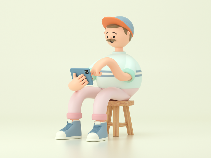 Learning learning man person design render c4d illustration character 3d