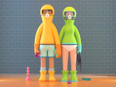 People toys sex people design render c4d illustration character 3d