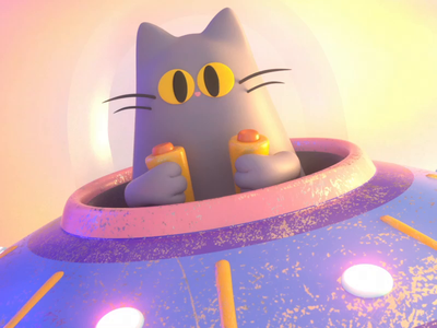 Cat machine animation machine cat design render c4d illustration character 3d
