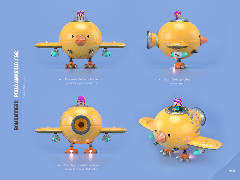 Chiken Airplane machine airplane chiken design render c4d illustration character 3d