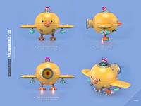 Chiken Airplane machine airplane chiken design render c4d illustration character 3d