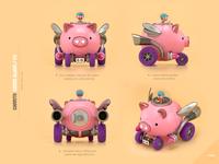 Pig truck truck pig design render c4d illustration character 3d