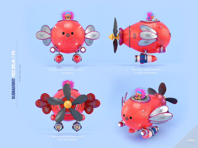 Fish submarine submarine fish design render c4d illustration character 3d