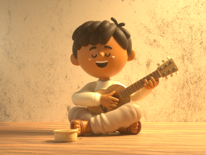 Boy and guitar mexico guitar boy design render c4d illustration character 3d