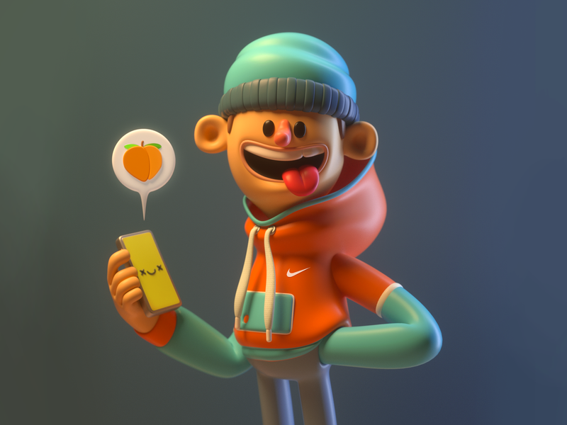 Peach person message peach boy design render c4d illustration character 3d