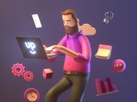 Working working space working man design render c4d illustration character 3d