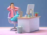 Working working office man person design render c4d illustration character 3d