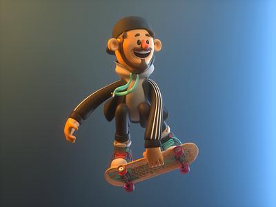 Skate skateboard jump skate person design render c4d illustration character 3d