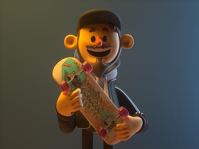 Skate skater skate man person design render c4d illustration character 3d